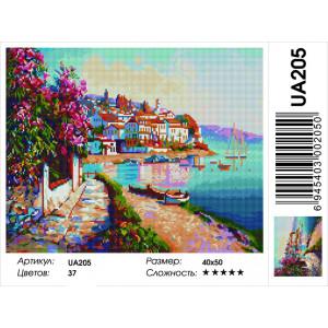 """UА205 Алмазная мозаика на подрамнике """"Набережная в цвету"""" 40х50 см"""