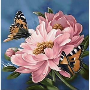 GF2050 Алмазная мозаика на подрамнике, квадратные стразы, Бабочки на цветах, размер 50*40 см