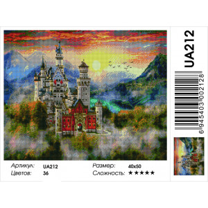 "UА212 Алмазная мозаика на подрамнике ""Туманный замок Нойшванштайн"" 40х50 см"