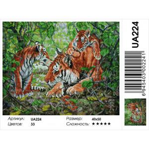 """UА224 Алмазная мозаика на подрамнике """"Тигровое семейство"""" 40х50 см"""