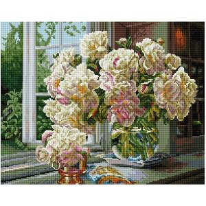 """GF2488 Алмазная мозаика на подрамнике """"Букет пионов на окне"""", 40х50 см"""