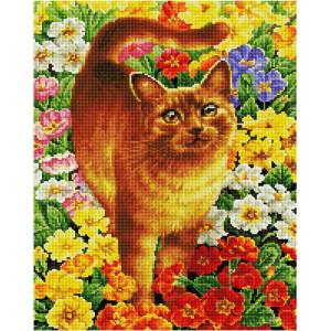 """GF2496 Алмазная мозаика на подрамнике """"Рыжий кот в цветах"""", 40х50 см"""