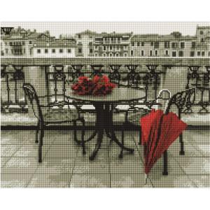 """Алмазная мозаика на подрамнике GF2582 """"Красный зонт и розы"""", 40х50 см"""