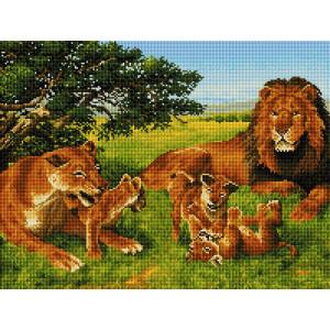 """GF2610 Алмазная мозаика на подрамнике """"Семья львов со львятами"""", 40х50 см"""