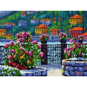 """GF2612 Алмазная мозаика на подрамнике """"Набережная в цветах"""", 40х50 см"""