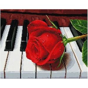 "UA357 Алмазная мозаика на подрамнике ""Роза на фортепьяно"",  40х50 см"
