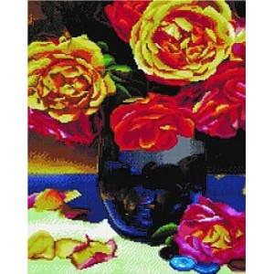"""UA371 Алмазная мозаика на подрамнике """"Желтые розы в синей вазе"""",  40х50 см"""