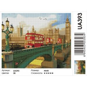 "UA393 Алмазная мозаика на подрамнике ""Мост через Темзу"",   40х50 см"