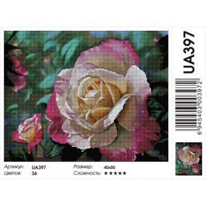"UA397 Алмазная мозаика на подрамнике ""Роза в цвету"", 40х50 см"