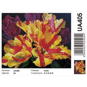 """UA405 Алмазная мозаика на подрамнике """"Махровые тюльпаны"""", 40х50 см"""