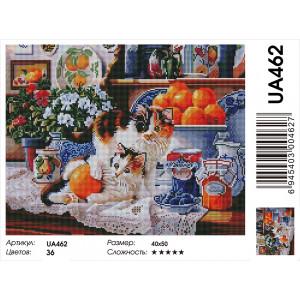 "UA462 Алмазная мозаика на подрамнике ""Котята и мандарины""  40х50 см"