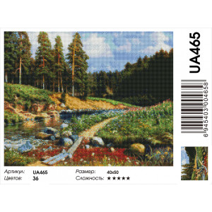 "UA465 Алмазная мозаика на подрамнике ""Таежная река""  40х50 см"