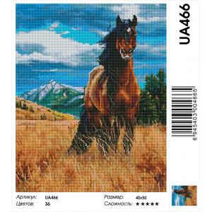 """UA466 Алмазная мозаика на подрамнике """"Степной конь""""  40х50 см"""
