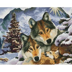 Алмазная мозаика, 40х50, квадратные стразы GF 499 Волки