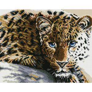 Алмазная мозаика, 40х50, квадратные стразы GF 829 Грустный леопард