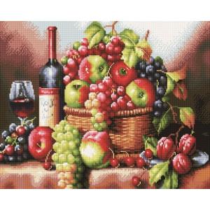 Алмазная мозаика, 40х50, квадратные стразы GF 961 Корзина с фруктами