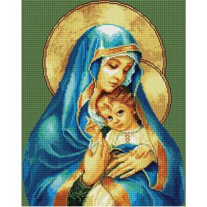 "GF1372 Алмазная мозаика на подрамнике ""Мадонна с младенцем"", 40х50 см"