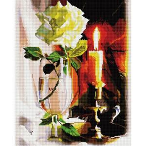 """GF2201 Алмазная мозаика на подрамнике """"Свеча и роза"""", 40х50 см"""
