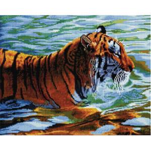 """GF2223 Алмазная мозаика на подрамнике """"Тигр в реке"""", 40х50 см"""