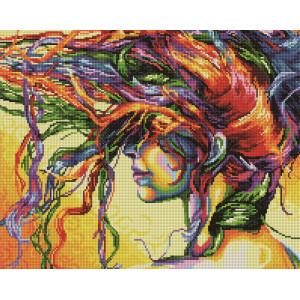 """GF2564 Алмазная мозаика на подрамнике """"Девушка с цветными волосами"""", 40х50 см"""