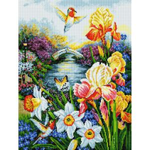 """GF2611 Алмазная мозаика на подрамнике """"Колибри в саду"""", 40х50 см"""