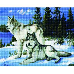 """GF505 Алмазная вышивка на подрамнике """"Волки"""" , 40х50 см"""
