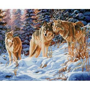 """GF661 Алмазная мозаика на подрамнике """"Волки в зимнем лесу"""" 40х50 см"""
