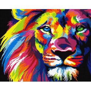 """GF928 Алмазная мозаика на подрамнике """"Радужный лев"""" , 40х50 см"""