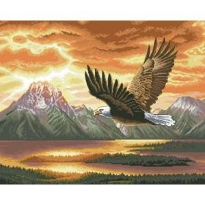 Алмазная мозаика, 40х50, квадратные стразы GF 1759 Горный орел