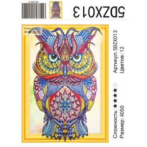 "5DZX013 алмазная мозаика вышивка 5д ""Синий филин"", 40х50 см"