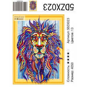 """Алмазная мозаика вышивка 5д 5DZX023 """"Разноцветный лев"""", 40х50 см"""