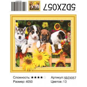 """5DZX057 Алмазная мозаика 5D """"Четыре щенка"""", 40х50 см"""