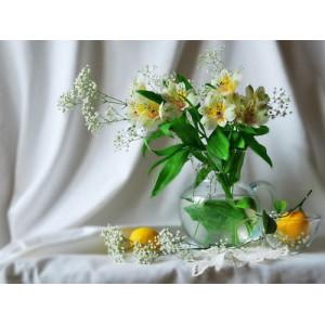 """12121 Алмазная мозаика  """"Цветы в стеклянном кувшине и апельсины"""", 40х50 см"""