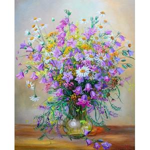 """12125 Алмазная мозаика  """"Полевые цветы в стеклянной вазе"""", 40х50 см"""