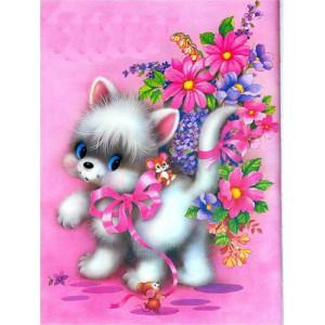"12132 Алмазная мозаика ""Котенок с цветами на розовом фоне"", 40х50 см"