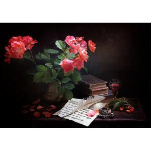 """12140 Алмазная мозаика """"Цветы, письмо, чернильница с пером"""", 40х50 см"""