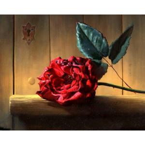 """12148 Алмазная мозаика """"Красная роза у замочной скважины"""", 40х50 см"""