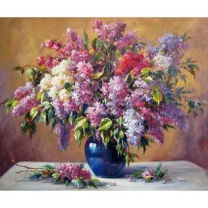 """12154 Алмазная мозаика """"Сирень в синей вазе"""", 40х50 см"""