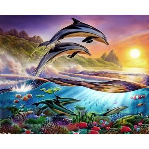 """12162 Алмазная мозаика """"Дельфины выпрыгнули направо """", 40х50 см"""