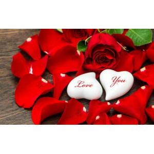 """12164 Алмазная мозаика """"Красные розы и два белых сердца"""", 40х50 см"""