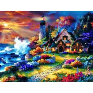 """12165 Алмазная мозаика """"Дом у маяка на разноцветном берегу """", 40х50 см"""