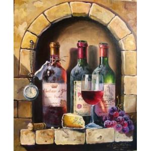 """12166 Алмазная мозаика """"Вино в кирпичной стене"""", 40х50 см"""