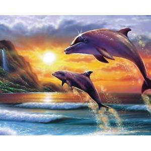 """12167 Алмазная мозаика """"Дельфины выпрыгнули налево"""", 40х50 см"""
