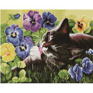 """GF1464 Алмазная мозаика на подрамнике """"Кот в цветах"""" , 40х50 см"""