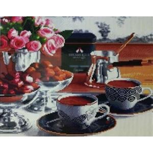 "GF1916 Алмазная мозаика на подрамнике ""Кофе и шоколад"" , 40х50 см"