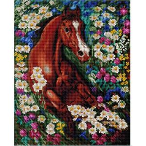 """GF2486 Алмазная мозаика на подрамнике """"Скакун в цветах"""", 40х50 см"""