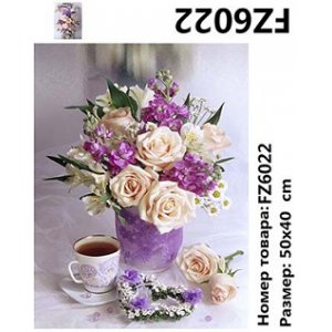 """АКВ45 FZ6022 Алмазная мозаика вышивка """"Розы и чай на голубом фоне"""", 40х50 см"""
