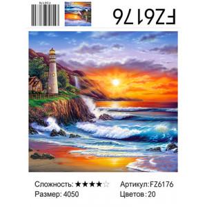"FZ6176 Алмазная мозаика ""Маяк на закате"", 40х50 см"
