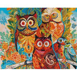 "GF 730 Алмазная мозаика на подрамнике ""Разноцветные совушки"" 40х50 см"