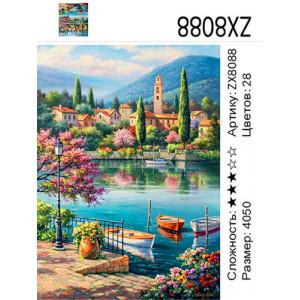 """ZX8088 Алмазная мозаика """"Три лодки у набережной"""", 40х50 см"""